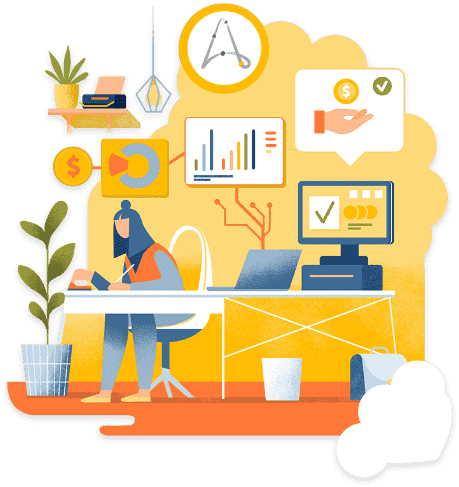 Illustration Automation Anywhere Avatar Working At Desk